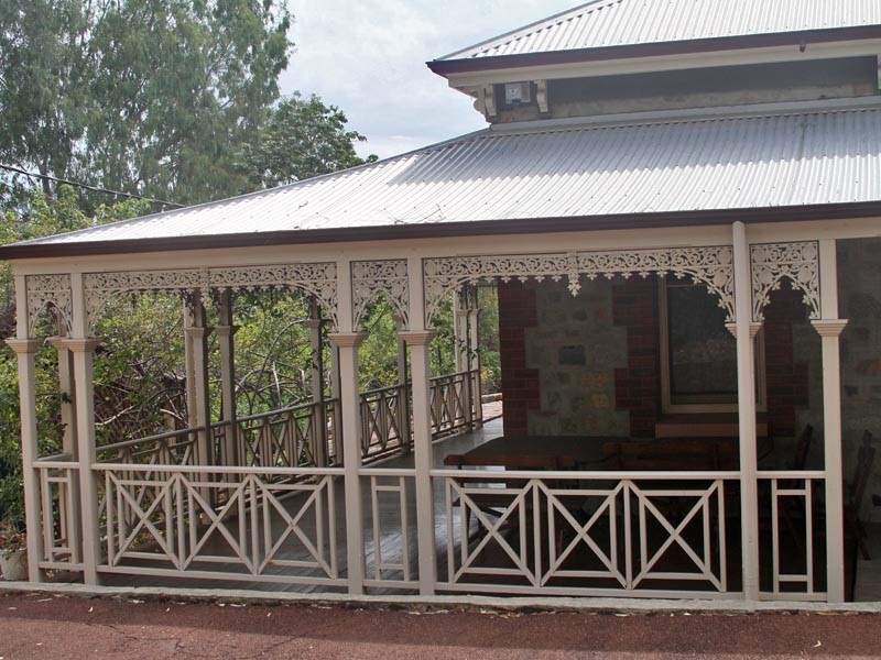 The entrance and front veranda of the Guest House where D.H. Lawrence stayed in Darlington.