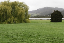 The park between the main road and the Huon River at Franklin.