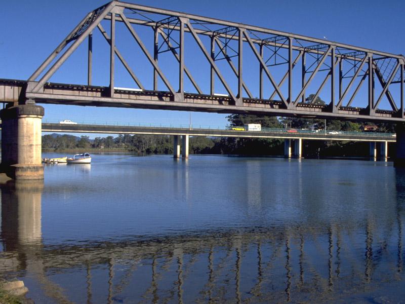 Urunga Australia  city photo : ... and Pacific Highway Bridge passing over the Kalang River at Urunga